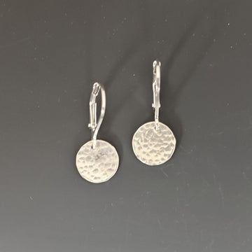 Hammered Disk Earrings - Small