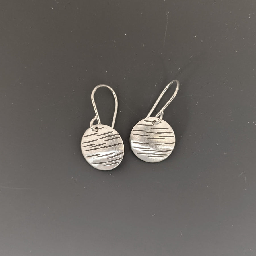Stamped Disk Earrings - Medium