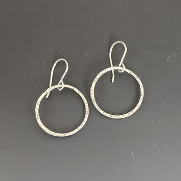Stamped Circle Earrings - Medium