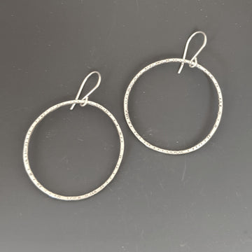 Stamped Circle Earrings - Large