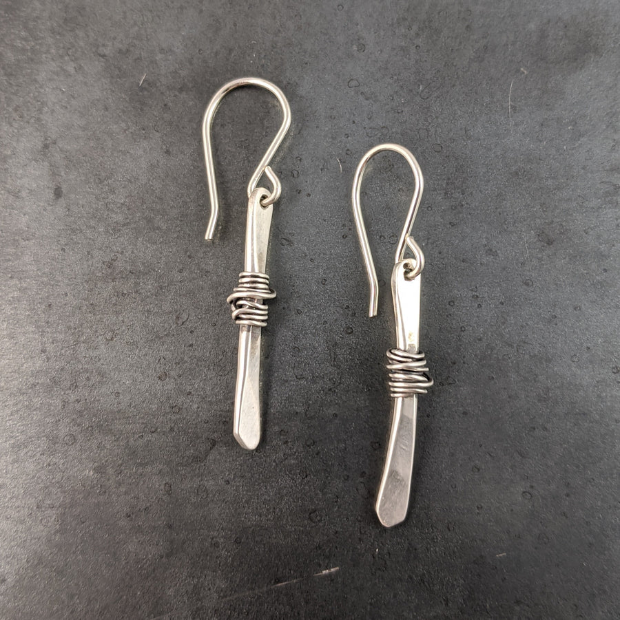 Silver Twigs Wrapped with Silver Earrings