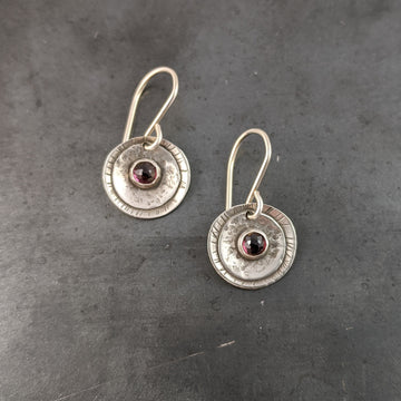 Double Disk Earrings with Garnets