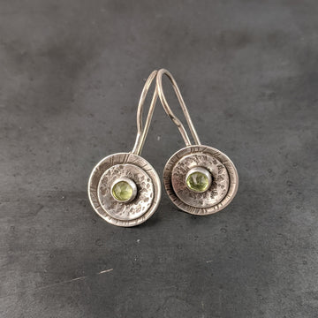 Double Disk Earrings with Peridot