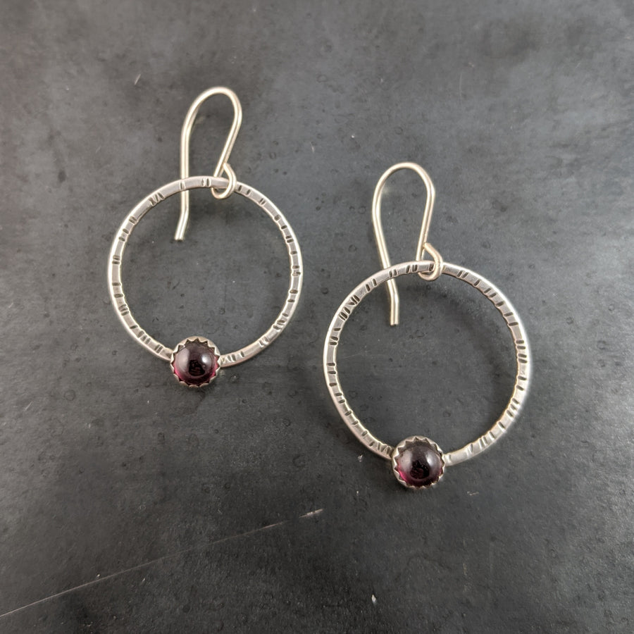 Stamped Circle Earrings with Garnets