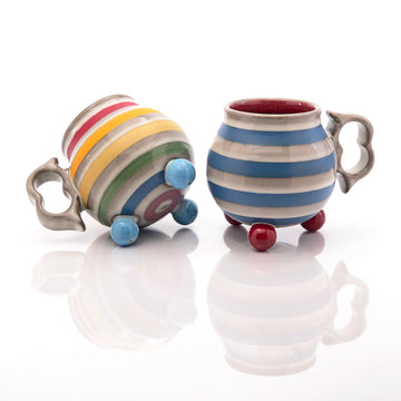 Blue & Red Ball Footed Mug