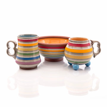 Orange Rainbow Striped Bowl