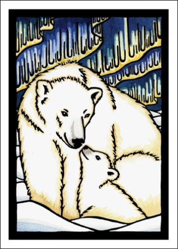 Polar Bears Original Linocut