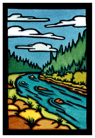The River Original Linocut