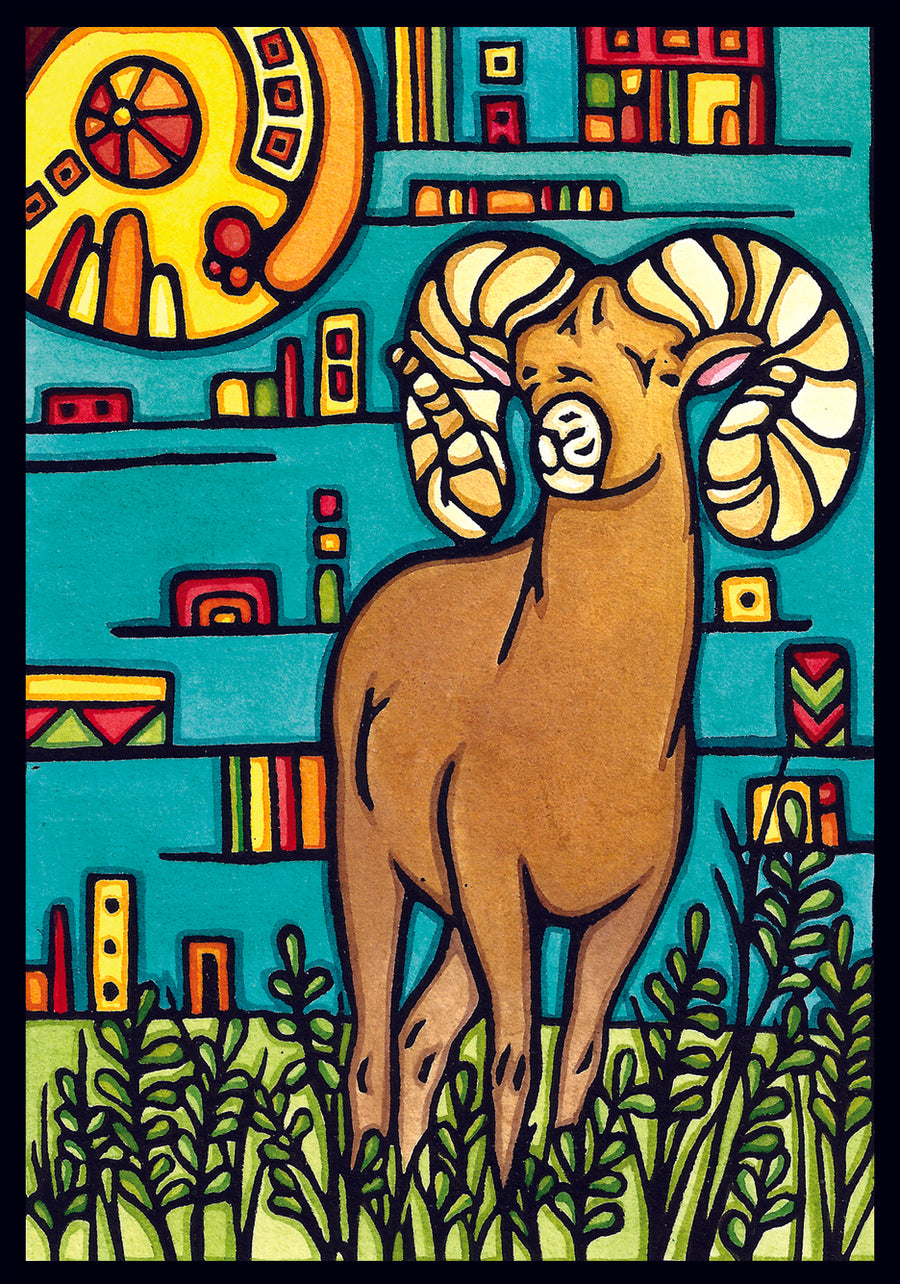 Bighorn Sheep Original Linocut