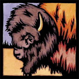 Brilliant Bison Linocut