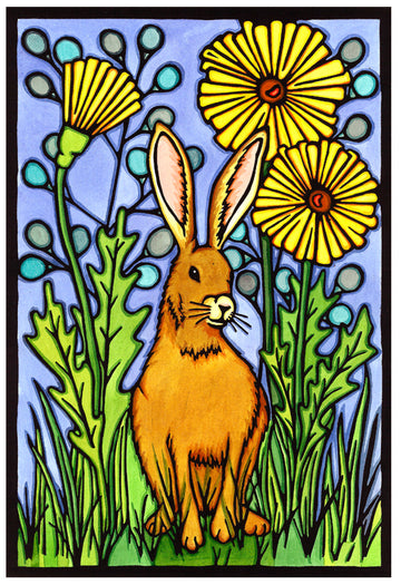 Summer Rabbit Original Linocut