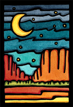 Red Rocks Original Linocut