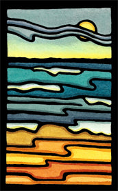 Waves Original Linocut