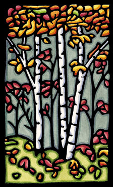 Autumn Woods Original Linocut