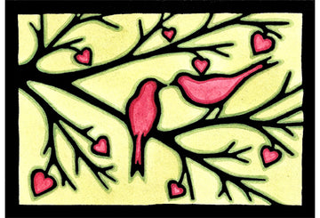 Love Birds Original Linocut