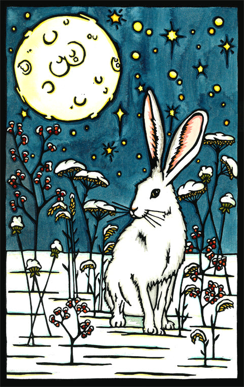 Winter Rabbit Original Linocut
