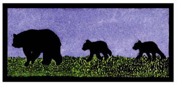 Mama and Her Two Cubs Original Linocut