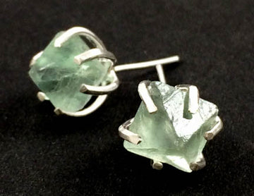 Specimen Earrings - Green Fluorite