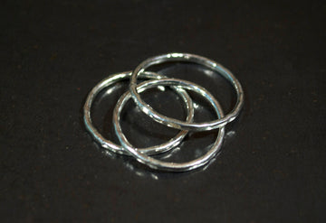 Stacking Silver and Steel Rings - Set of 3