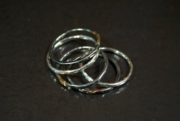 Stacking Silver and Steel Rings - Set of 5