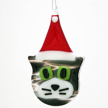 Cat with Santa Hat Ornament - Gray