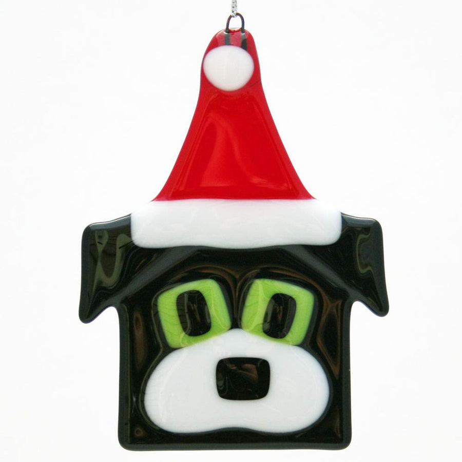 Dog with Santa Hat Ornament - Black