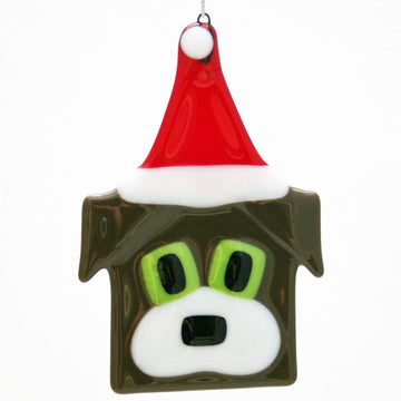 Dog with Santa Hat Ornament - Brown