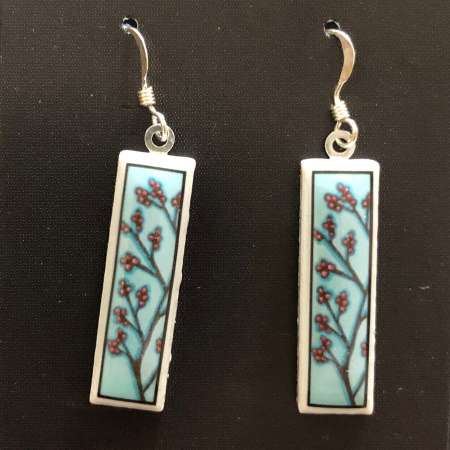 Rectangle Earrings - Berries on Blue