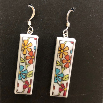 Rectangle Earrings - Flowers on White