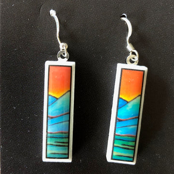Rectangle Earrings - Mountains