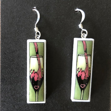 Rectangle Earrings - Wine