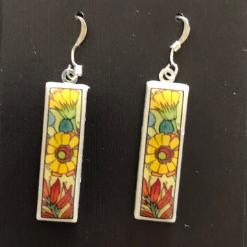 Rectangle Earrings - Yellow Flowers