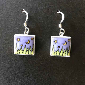 Square Earrings - Clear Sky at Night