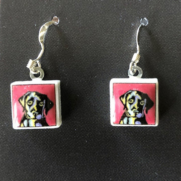 Square Earrings - Puppy Dog