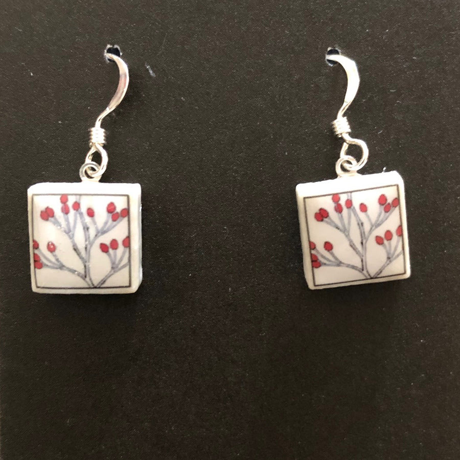 Square Earrings - Red Berries