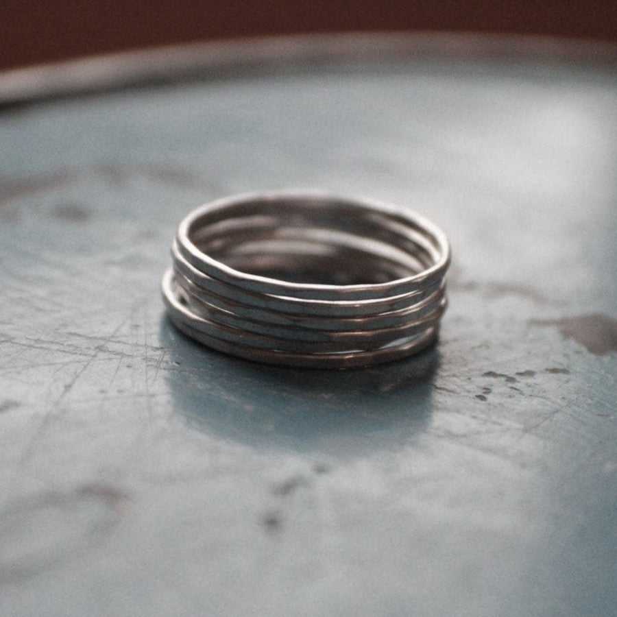 Silver Stacking Rings - Set of 6