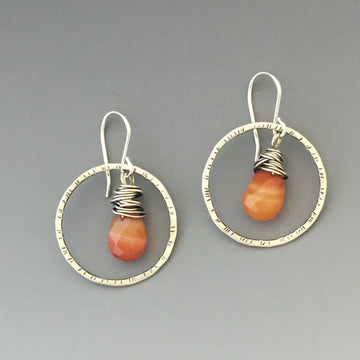 Circles with Carnelian Earrings