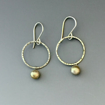 Circles with Silver Balls Earrings