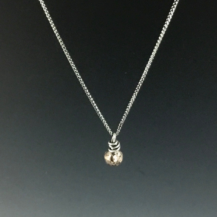 Bronze Nugget Pendant on Spiga Chain Necklace