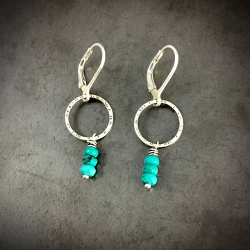 Stamped Circle with Turquoise Earrings