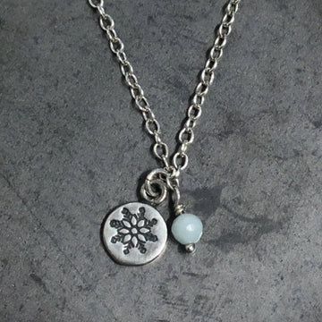Necklace - Snowflake with Amazonite
