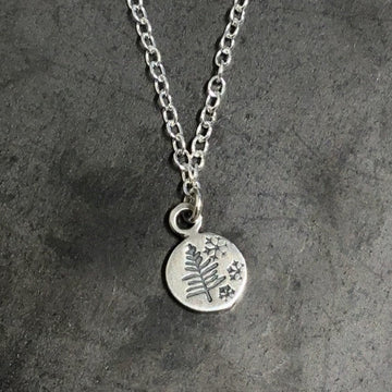Necklace - Pine and Snowflakes Disc