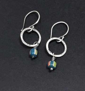 Small Circle with Trade Beads Earrings