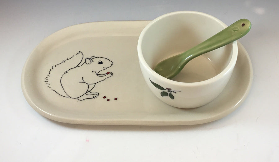 Squirrel Oval Platter with Dipping Bowl and Spoon