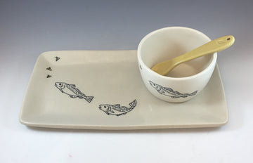 Rectangular Fish Platter with Dipping Bowl and Spoon