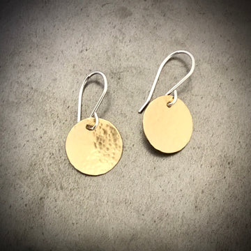 Medium Mixed Metal Hammered Disk Earrings
