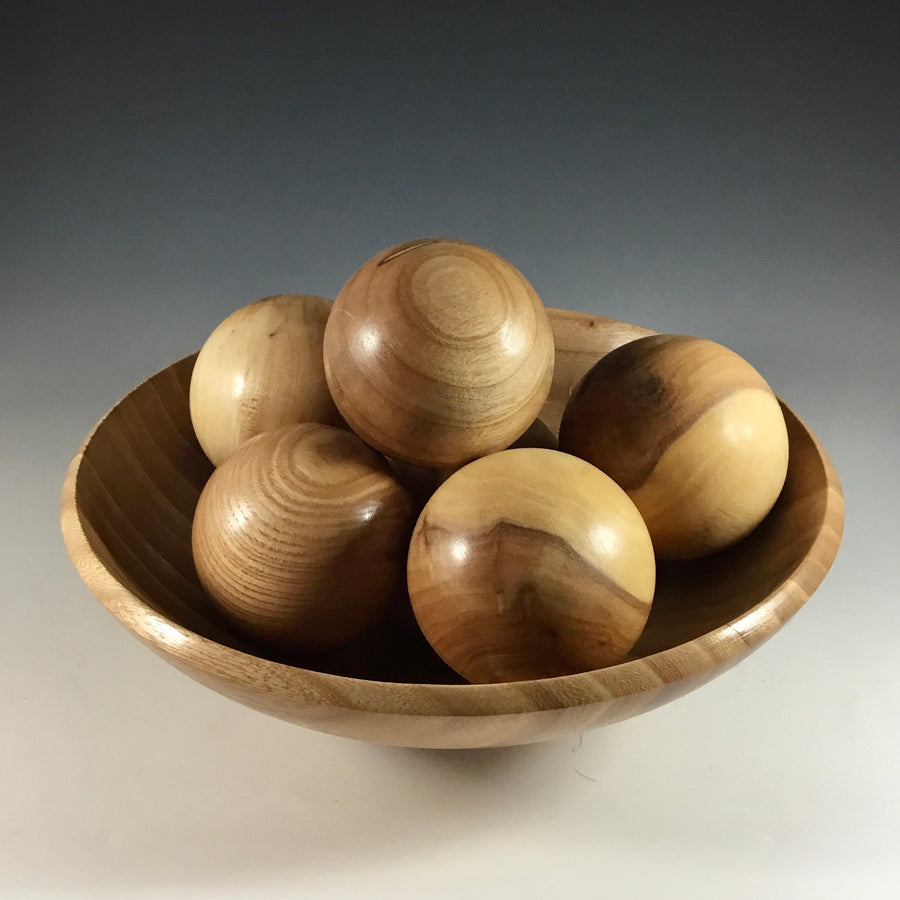 Elm Bowl with 6 Spheres