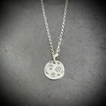 Necklace - Moon and Snowflakes Disc