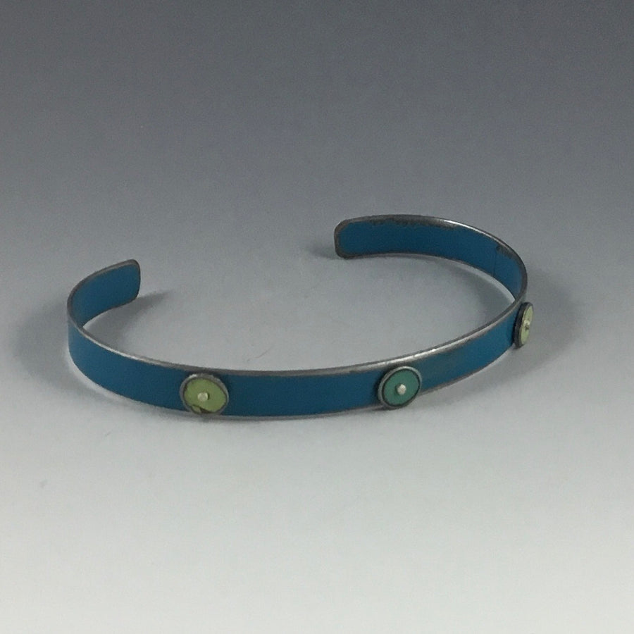 Small Cuff Bracelet with Dots - Blue