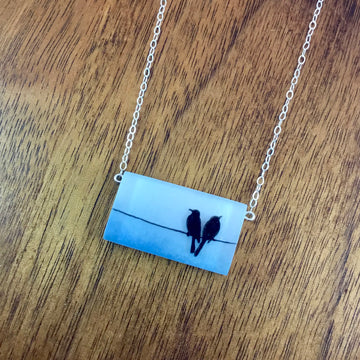 2 Birds on Line Necklace
